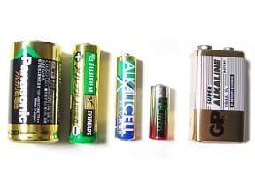 A selection of alkaline batteries in different form factors.