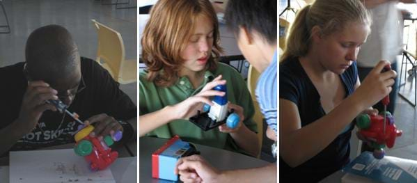 Three pictures of students in the process of reverse engineering a push-toy. Shown, the students are in various stages of manipulating the toys for study or disassembly.