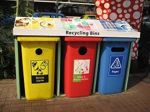 A photograph shows three recycling bins for drink cans, glass & plastic bottles, and paper.