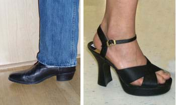 Two photos: A black cowboy boot with pointed toe and low heel. A woman's black strappy dress shoe with a three-inch square heel.