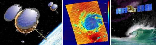 Three images: Photo shows three satellites with reflective solar panels and long antennae floating above the curved surface of the Earth. A digital weather map shows a spiral shape of Hurricane Frances with color gradations from dark blue at the eye to yellow and orange at the outer edges. A drawing shows a satellite device with eight solar panels above a powerful ocean wave, representing its ability to monitor sea level changes and stormy weather.