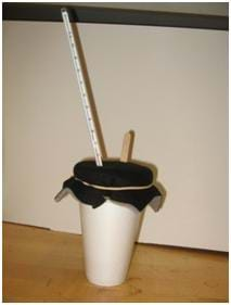 Photo shows a white foam cup with a felt fabric lid held onto the cup by a rubber band. A thermometer and a Popsicle® stick are sticking out through the felt lid.