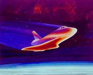 A colorful drawing of a red-hot spacecraft above a blue-layered atmosphere.