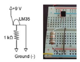Photo shows the setup for the circuit, showing the LM35 temperature sensor chip, a resistor, and jumper wires on the breadboard.
