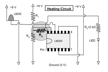 A diagram showing the heating circuit with the fourth resistor added.