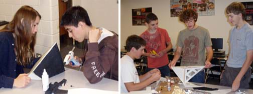 Two photos: A student uses a glue gun to form secure walls in a tent-shaped structure made of foam core board with one black exterior wall. Four students at a table with glue, foil and supplies, with one student balancing an inverse-pyramid-shaped structure with window panes on one side.