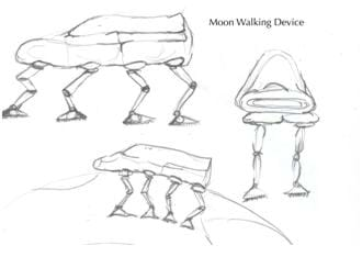 A black and white sketch of a Moon Walking Device, inspired by the dragonfly, and designed by elementary students.