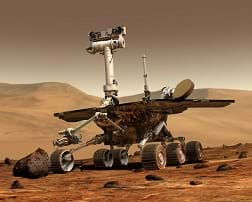 A NASA Mars rover on Mars.
