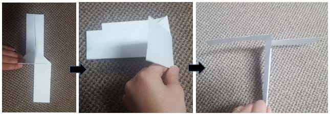 Three photos show a hand bending and folding two flaps to make the propeller in the form of two blades that are perpendicular to the rest of the paper (the helicopter base).