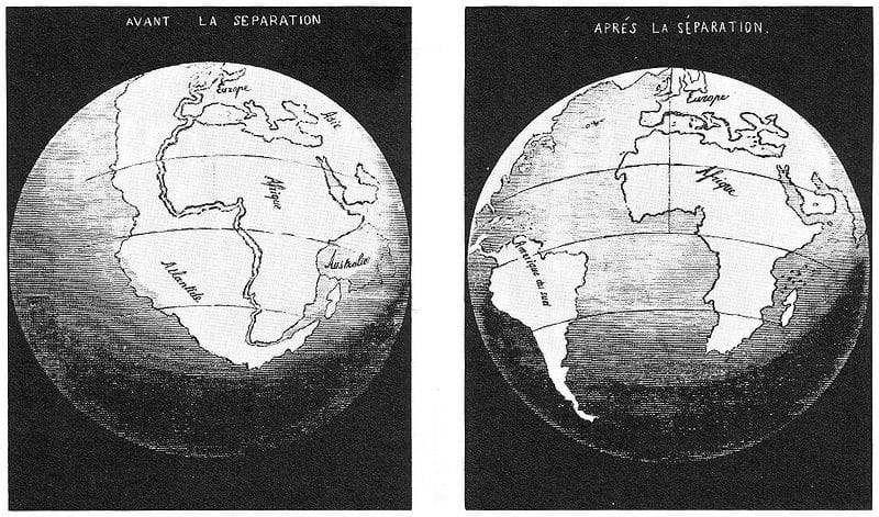 An illustration by Antonio Snider-Pellegrini of the Opening of the Atlantic Ocean in 1858 depicting continental drift.