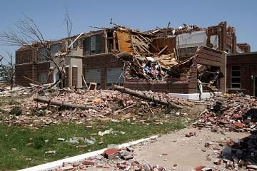 The resulting damage of the Greensburg High School after a F5 tornado struck in Greensburg, KS.