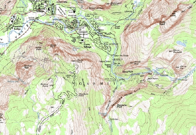 An extract of the Half Dome USGS quadrangle topographic map showing some of the trails near Glacier Point in Yosemite National Park, CA.