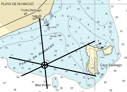 A NOAA chart of the Punta Lima to Cayo Batata showing three bearing lines to pinpoint a specific location.