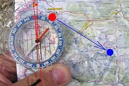 An illustration showing how to use a compass and a map to determine location.