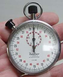 A person holding a stopwatch about to measure time.