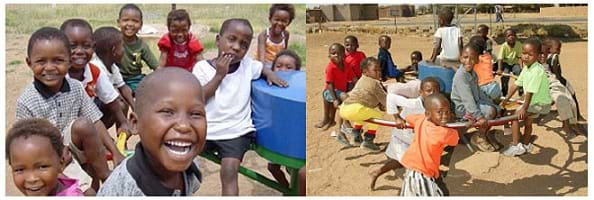 Two photos show smiling children playing on a merry-go-round that pumps water.