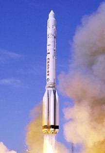 The launch of the Proton-K rocket.