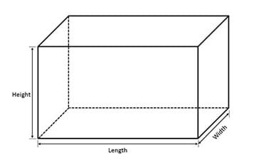 A line drawing of a transparent box with three edges labeled length, width and height.