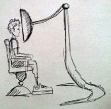 A pencil sketch shows a person sitting in a chair looking into a bowl-shaped item positioned with the wide opening in front of his head, held up by an independent support system based on the floor.