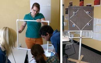 Two photos: (left) Four teenagers work on a square frame made of white pipes. (right) A structure that looks somewhat like a stop sign, with a wooden cross base on wheels supporting a vertical pipe with a rectangular frame supporting four lights in four corners of one side.