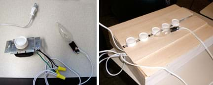 Two photos: (left) A close-up of the dimmer switch wired to the light bulb with an extension cord. (right) The dimmer switches mounted in a box made of balsa wood.