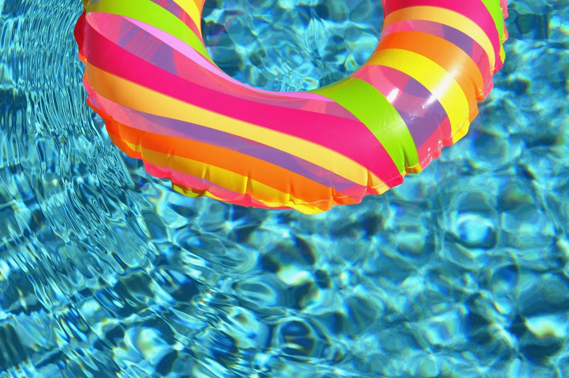 Photo shows a float in pool water.