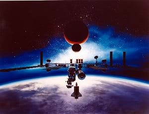 An artist's conception of the Space Station Freedom in orbit (Alan Chinchar's 1991 rendition).