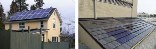 Two photos: (left) Nearly the entire half of a peaked roof of a two-story house is covered by blue panels with silver edges. (right) An angled roof surface with rows of dark shingles, some of which are shiny and darker.