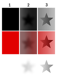 An illustration of a star shown in three ways indicating opacity, translucency and transparency.