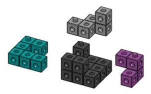 Four different shapes composed of four to 12 snap cubes.