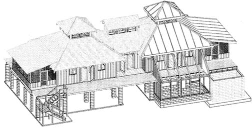 A line drawing shows a two-story house that was drawn isometrically using AutoCAD in order to accurately depict building blueprints and design plans.