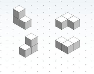 Four isometric drawings (on dot paper) of one three-cube shape from different perspectives.