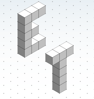"A drawing of the capital letters E and T on triangle-dot paper. They look like ""block"" letters. The ""T"" is a line of three cubes placed horizontally on top of a stack of four cubes."