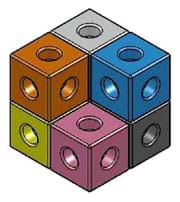 A drawing shows seven toy snap cubes of equal size snapped together to compose a bigger cube with one corner cube missing.