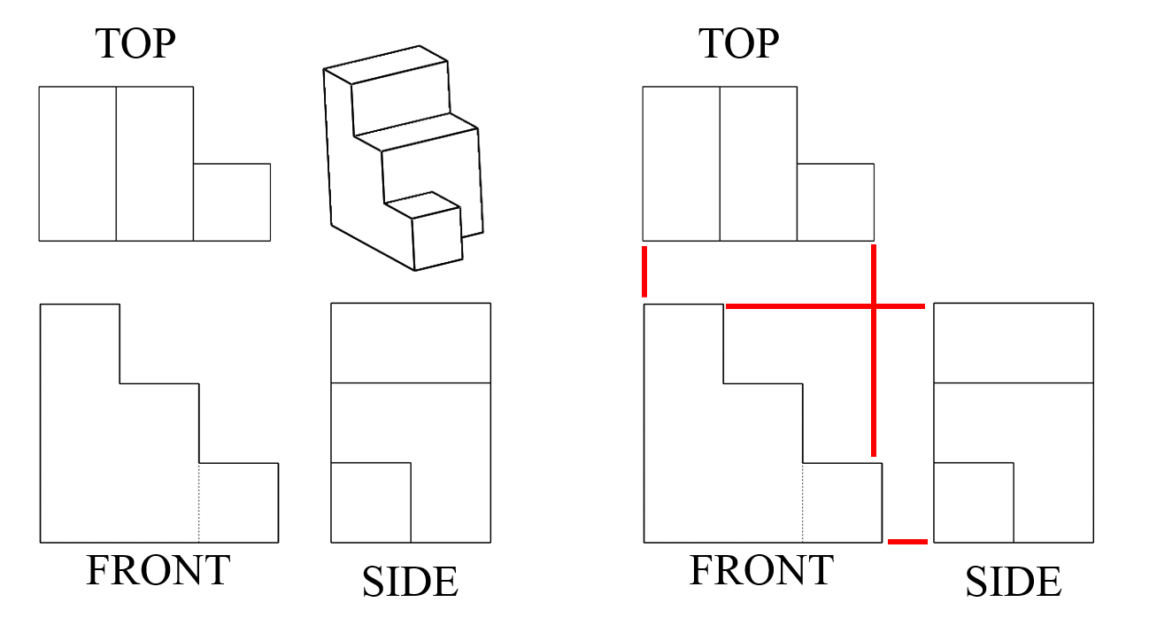 A line drawing of a multi-height 3-D object composed of eight equal-sized cubes, as well as the top, front and side views of that same object.