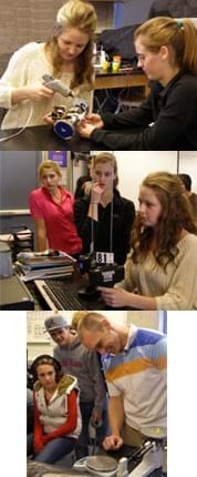 Three photos: (top) Two teenage girls use a glue gun on a small, wheeled contraption. (middle) Teens gather around one girl using wireless controllers to obtain a bioposy while watching a monitor. (bottom) A teacher and students weigh a small clump of PlayDoh on a scale.