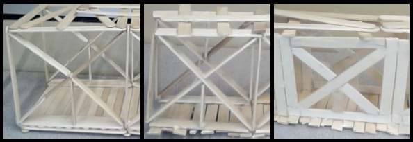 Three photos of connecting Popsicle sticks to form truss sides. The first is the butt joint, where the Popsicle sticks are perpendicular to each other. The second is the notched joint, where sticks are notched to receive each other. The third is overlapping, where the sticks are simply attached by overlapping the ends.