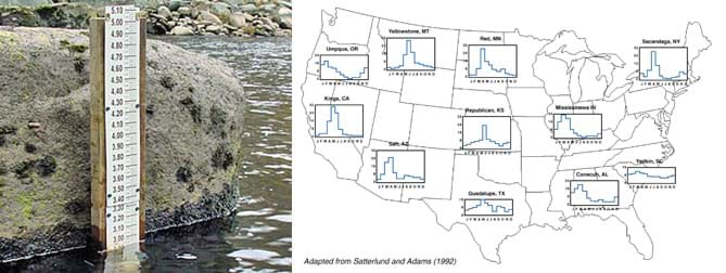 A photograph shows what a measurement ruler placed vertically and partially submerged in river water near a big rock. A map of the contiguous US with little line graphs positioned over 11 different cities across the country, such as at Yellowstone, MT, Guadalupe, TX, and Kings, CA