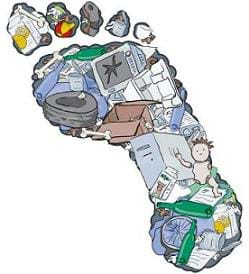 A drawing of a footprint filled with trash, including recyclable/reusable items.