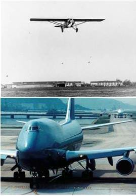 Two photographs of airplanes: Charles Lindbergh's first airplane in flight, circa 1927. A modern-day Boeing 747.