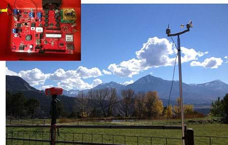 Two photographs: An outdoor landscape shows a red case attached to a fence post with an anemometer and wind vane nearby atop a high pole attached to the fence. Inside the air quality monitor case is a system of sensors, dials and wiring.