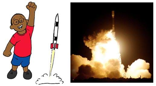 Two images: A drawing of a small boy cheering as his model rocket launches.  A photograph at night shows a rocket blasting off amidst clouds of exhaust and plumes of fire (due to the rocket's ignited fuel).