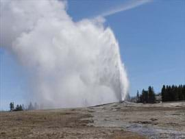 A geyser shoots highly-pressurized water from the ground to a height of several meters.