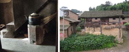 Two photos: (left) A black teapot sits on a small coal stove. The stove looks somewhat like a metal bucket with angled sides. (right) Homes in the Chinese countryside with peaked roofs made of wood and ceramic tile, and walls made of brick.