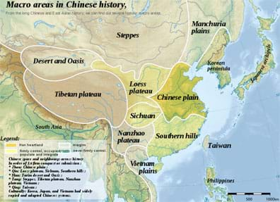 Map identifies regions: desert and oasis, steppes, Manchuria plains, Korean peninsula, Tibetan plateau, Loess plateau, Chinese plain, Sichuan, Nanzhao plateau, southern hills, Vietnam plans, and Taiwan island.