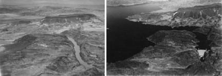 Two black-and-white aerial photos of the same canyon view of the Colorado River in Arizona/Nevada. Left photo shows a narrow river winding through mountainous outcrop terrain. Right photo shows a large reservoir of water has filled in the much of the terrain above Hoover Dam.