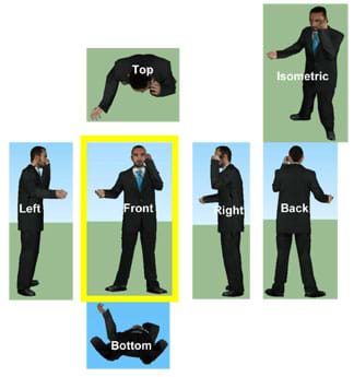 An image of a standing man talking on a phone shown from seven different views (left, front, right, back, top, bottom, isometric).