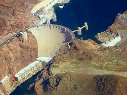 The Hoover Dam as seen from the sky.