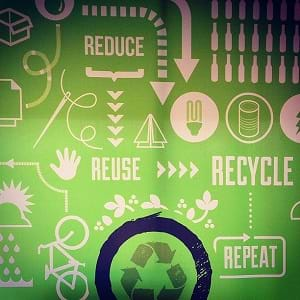 A graphic informing people to reduce, reuse, recycle and repeat.