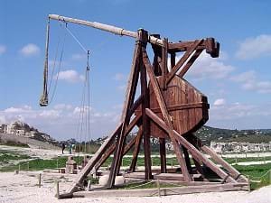 A large wooden trebuchet at the Chateau des Baux, France.